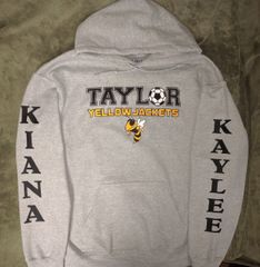 Taylor Yellow Jackets grey hoodie cotton