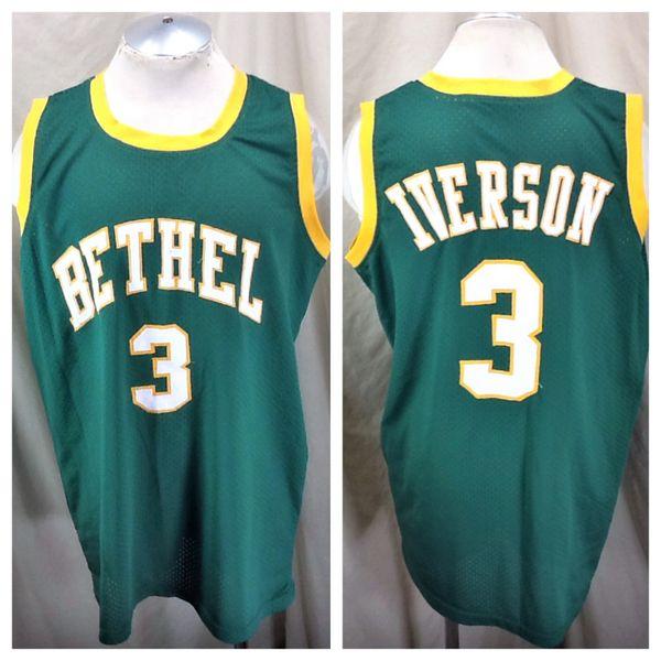 809ac085ea9f Vintage Allen Iverson  3 Bethel High School (2XL) Retro Stitched Basketball  Jersey Green