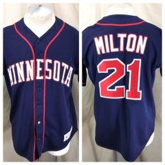 d77babd22 Majestic Minnesota Twins Eric Milton #21 (Med) Button Up MLB Baseball Jersey