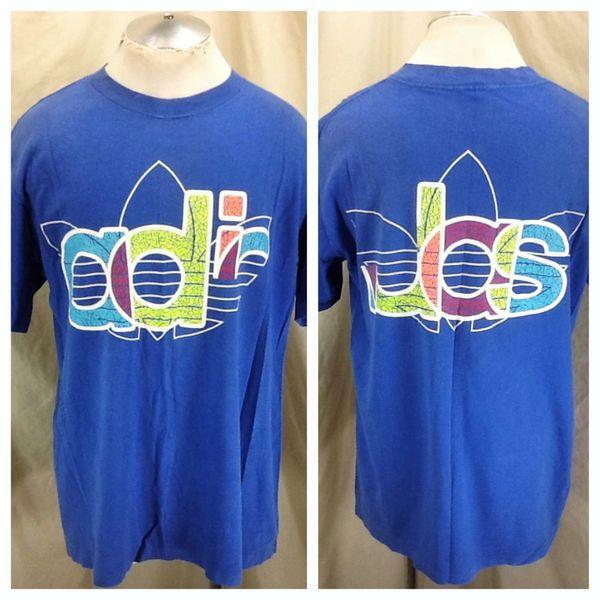 5b5137d2414 Vintage Adidas Trefoil Retro Colors (Large) Graphic Hip Hop Active Wear  T-Shirt