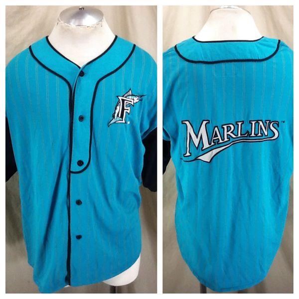 c41e9200 Vintage 90's Starter Florida Marlins MLB Baseball (Large) Button Up  Pinstripe Retro Stitched Jersey | Our City Vintage