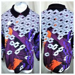 Vintage 90 s Lotto Long Sleeve (Large) Retro All Over Graphic Futbol    Soccer Goalie 1578799ed
