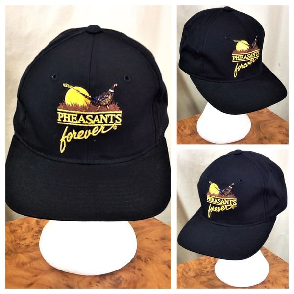 Vintage 90 s Pheasants Forever Classic Logo Graphic Snap Back Hunting Hat  Black  1934f929db6