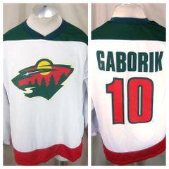 853df17b5 Vintage Minnesota Wild Marian Gaborik #10 (Large) NHL Hockey Polyester  Jersey White