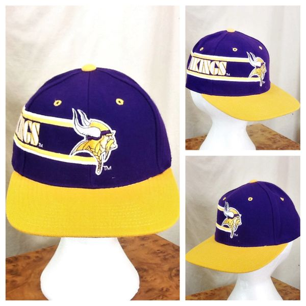 Vintage 90 s Drew Pearson Minnesota Vikings NFL Football Snap Back Hat  126084d23