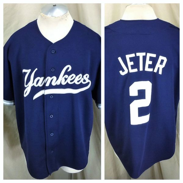 Vintage 90 s Starter Derek Jeter  2 (XL) New York Yankees Button Up Jersey  Blue  48c96211463