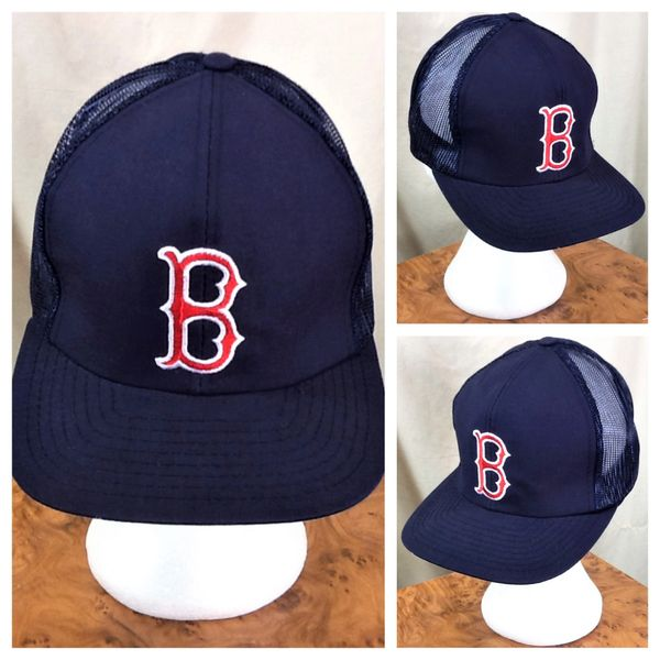 80550b0b2f4 Vintage 90 s Boston Red Sox Baseball Club Snap Back MLB Trucker Hat Blue