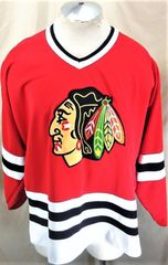 Vintage Starter Chicago Black Hawks (Large) Retro NHL Hockey Knit Jersey Red 77028452b