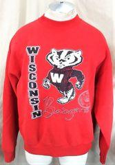3ab34c4c Vintage 90's Wisconsin Badgers (XL) Retro Graphic NCAA Crew Neck Sweatshirt  Red