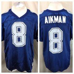 66339753766 Vintage 90's Wilson Troy Aikman #8 (XL) Dallas Cowboys NFL Football Jersey  Blue