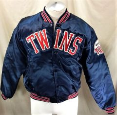 99311704b1f Vintage 1980 s Swingster Minnesota Twins (Large) Retro MLB Baseball Snap Up  Satin Jacket