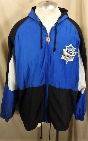 370a5726b66 Vintage 90 s Logo 7 Orlando Magic NBA Basketball (XL) Retro Zip Up Hooded  Windbreaker Jacket