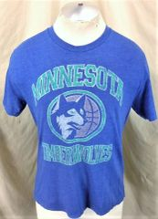 9b273617e8ce Minnesota Timberwolves Basketball Club (Medium) Retro Logo Graphic Wolves  Blue NBA T-Shirt