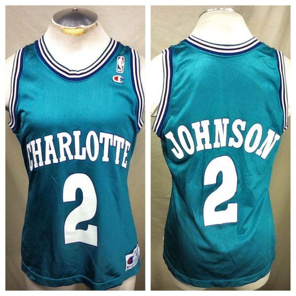Vintage Champion Charlotte Hornets (40 Small) Larry Johnson  2 Graphic NBA  Basketball Jersey  6284e5d82