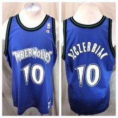 Vintage 90 s Champion Minnesota Timberwolves (XL 48) Retro Wally Szczerbiak   10 Blue 116473106