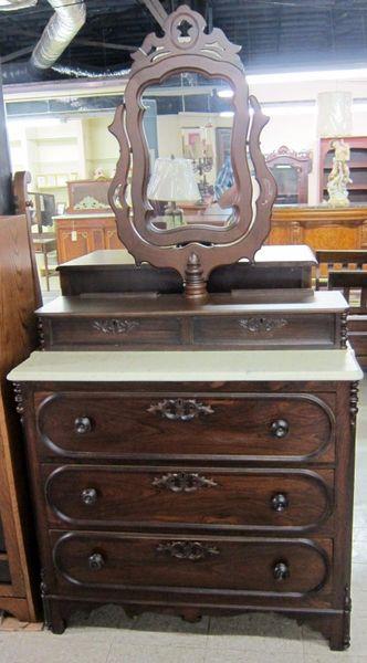 Antique Dresser With Marble Top Swivel Mirror Dutch Valley