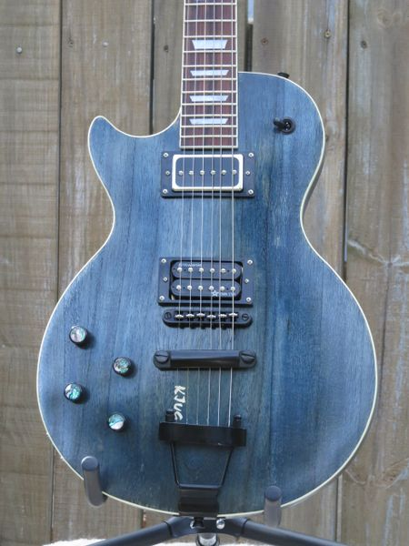 SOLD!! Lefty Barn Door Black and Blues 6 string Les Paul style electric guitar