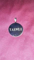 Yahweh Medallion White Lettering Stainless Steel