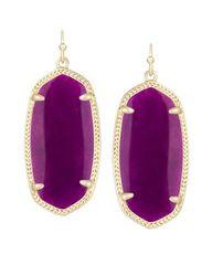 Kendra Scott Elle Earrings in Gold with Purple Jade