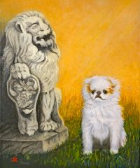 """Omar Little Thinks Big"" ... Japanese Chin, 5 x 7 Note Cards & Assorted Size Paper & Canvas Prints"