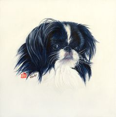 """Truffles"" ... Japanese Chin, 5 x 7 Note Cards & 8x10 Matted Print"