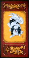 """The Play Bow II"" ... Japanese Chin, 9.25 x 4 (No. 10 Size) Note Cards & 15x30 Canvas Print"