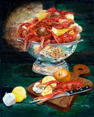 """Cajun Crawfish a la Caravaggio"" ... 5x7 Note Cards & Assorted Size Canvas Prints"