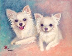 """The Siblings"" ... Long Coat Chihuahuas, 5 x 7 Note Cards & 8x10 Matted Print"