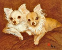 """Seventy-five for the Pair"" ... Long Coat Chihuahuas, 5 x 7 Note Cards & 8x10 Paper & Canvas Prints"