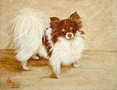 """Favorite Flavors--Chocolate and Vanilla"" ... Long Coat Chihuahua, 5 x 7 Note Cards & 8x10 Paper & Canvas Prints"