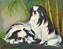 """Bamboo Garden"" ... Japanese Chin, 5x7 Note Cards & Assorted Size Paper Prints"