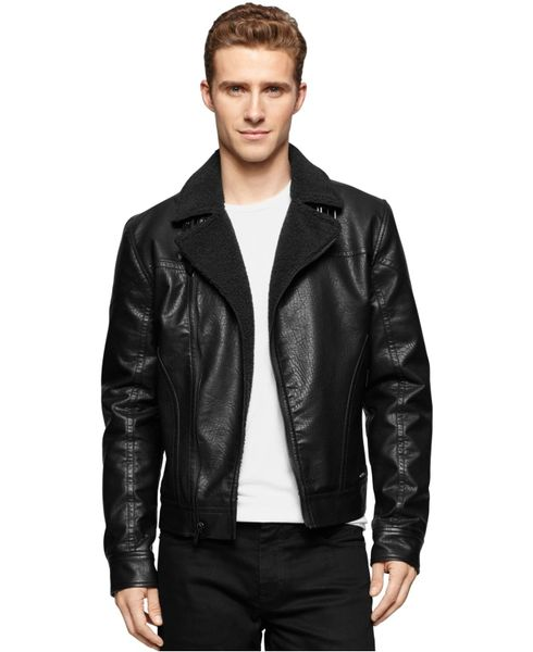 8ad4c5020 Men Calvin Klein Jeans Small Black Faux Leather Aviator Jacket Coat 8021-  large