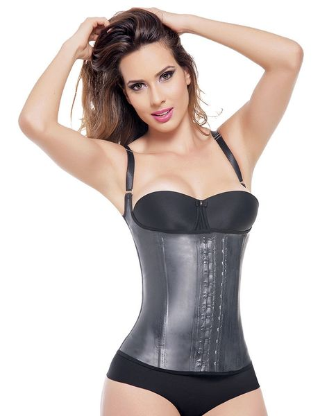 ac2a6c5f2be 3 Hook Latex Sports Girdle Vest Body Shaper Full Back Support ...