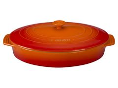 """3.75 qt. [14""""] Covered Oval Casserole - Flame"""