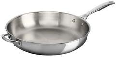 """12.5"""" Deep Stainless Steel Fry Pan w/ Helper Handle"""