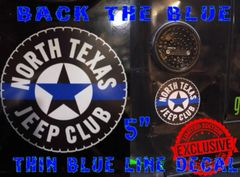 "NTJC Back the Blue, ""Thin Blue Line"" Decal"
