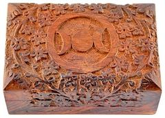 """TRIPLE MOON CARVED WOODEN BOX 4""""X6"""""""
