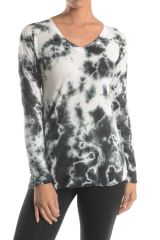 T PARTY BLACK AND WHITE TIE DYE LONG SLEEVE TOP