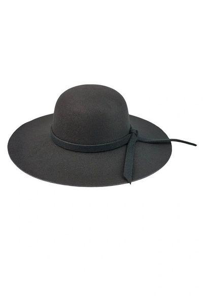 BLACK LARGE BRIM FLOPPY HAT WITH MATCHING TIE TRIM  c732c41532b