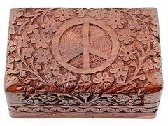 PEACE SIGN CARVED WOOD BOX