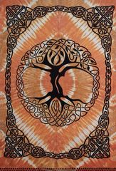 Tie Dye Celtic Tree Tapestry With Fringe