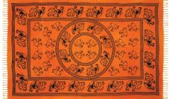 Elephant Design Fringed Tapestry
