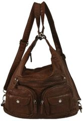 Ampere Creations Convertible Vegan Double Pocket Leather Backpack