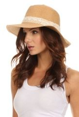 Wide brim panama straw hat with crochet detail