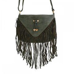 Alfa Bags Upside Down Triangle Front Fringe Cross Body Handbag