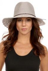 Sweet Straw Crochet wide brim panama hat in grey