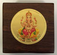 Wood Box With Gold Ganesha