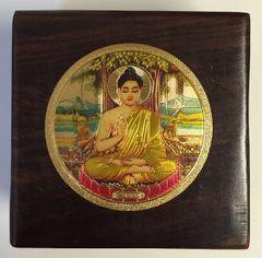 Wood Box With Gold Buddha