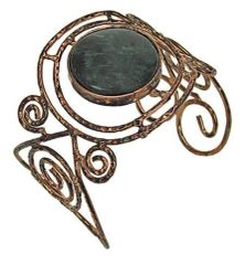 ANTIQUE COPPER WIRE BRACELET WITH MIDDLE STONE