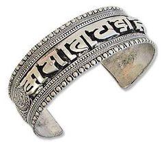 Tibetan Om Mani Padme Hum Mantra 1 Inch Silver Cuff Bracelet